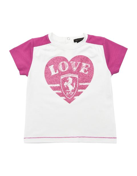 Two-colour infant girl T-shirt with short sleeves