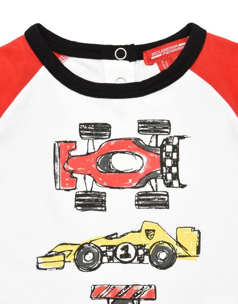 Scuderia Ferrari Online Store - Two-colour infant T-shirt with long sleeves - Long Sleeve T-Shirts
