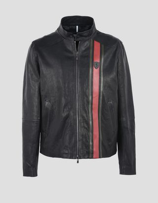 Scuderia Ferrari Online Store - Men's leather jacket - Leather Jackets