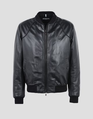 Scuderia Ferrari Online Store - Men's padded bomber jacket in lambskin nappa leather - Leather Jackets