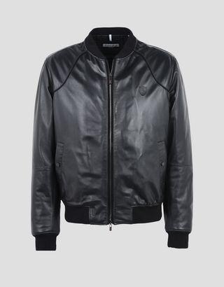 Scuderia Ferrari Online Store - Утеплённая мужская куртка-бомбер из овечьей кожи наппа - Кожаные куртки