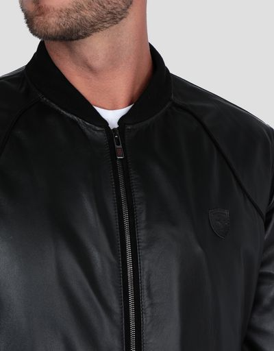 Men's padded bomber jacket in lambskin nappa leather