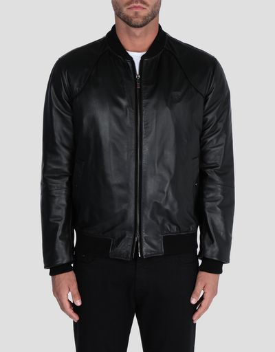 Men's nappa lambskin padded bomber jacket
