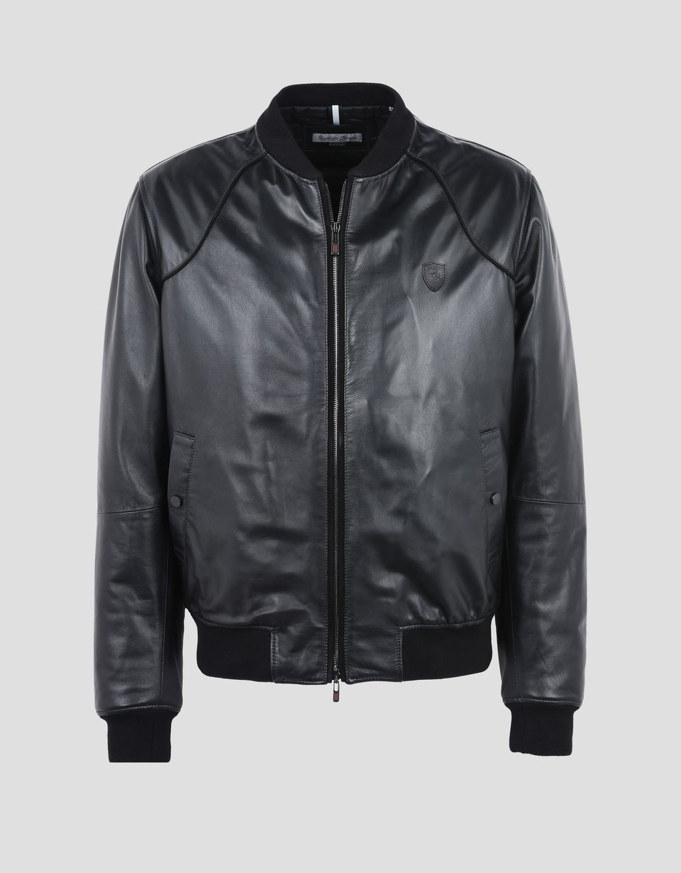 Scuderia Ferrari Online Store - Men's nappa lambskin padded bomber jacket - Leather Jackets