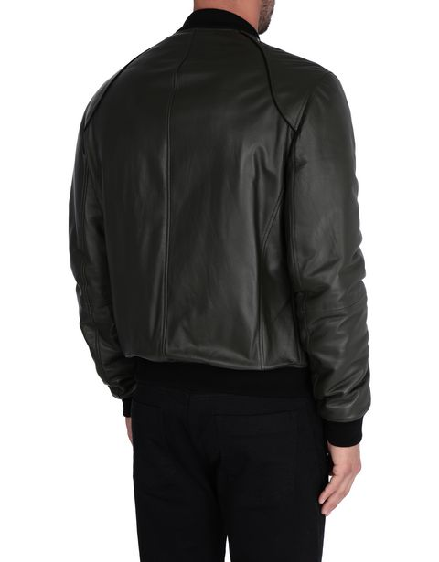 Men's padded leather bomber jacket
