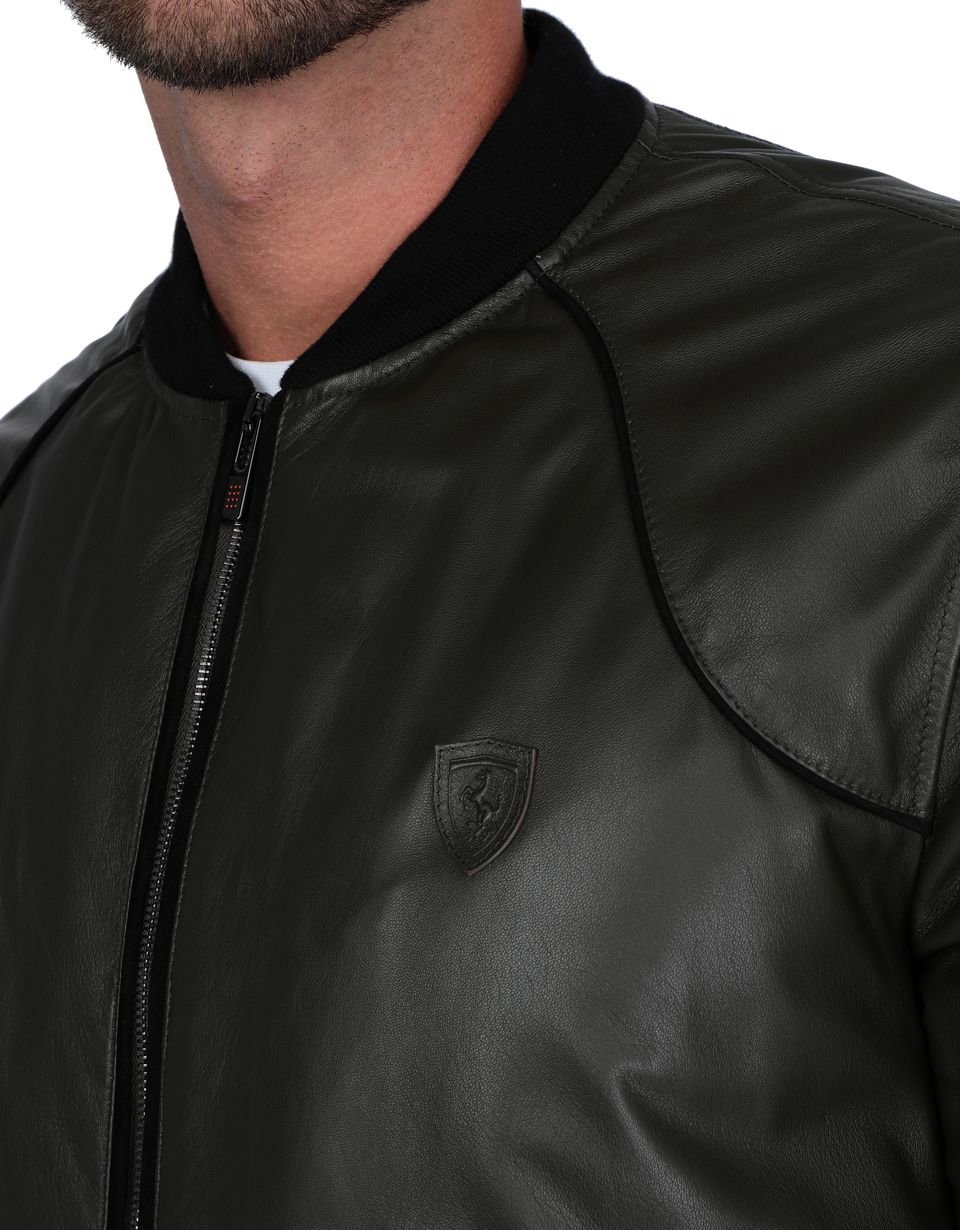 Scuderia Ferrari Online Store - Men's padded leather bomber jacket - Leather Jackets