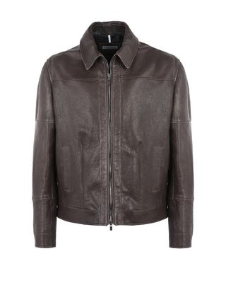 Scuderia Ferrari Online Store - Vegetable-tanned men's leather jacket - Leather Jackets