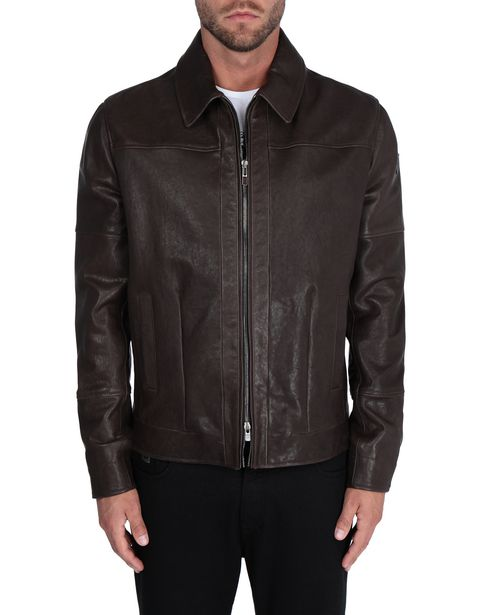 Vegetable-tanned men's leather jacket