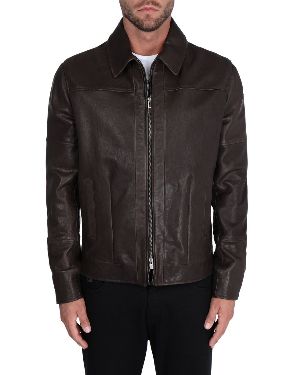 Scuderia Ferrari Online Store - Men's leather jacket with vegetable tanning - Leather Jackets