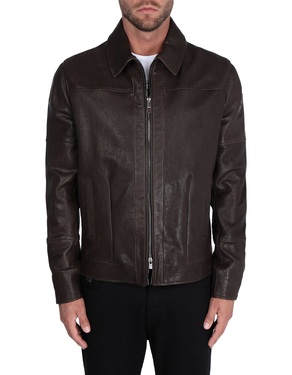 Scuderia Ferrari Online Store - Men's leather jacket with vegetable tanning -