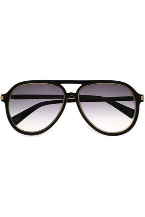 MARC JACOBS Aviator-style acetate and gold-tone sunglasses