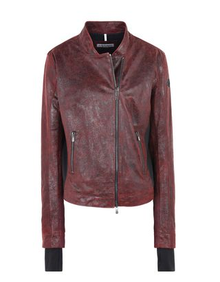 Scuderia Ferrari Online Store - Crackle leather women's jacket - Leather Jackets