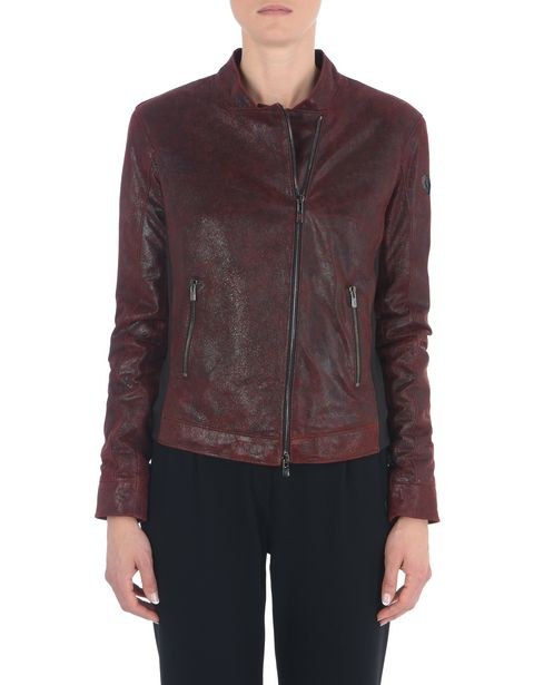 Women's padded jacket in crackle leather