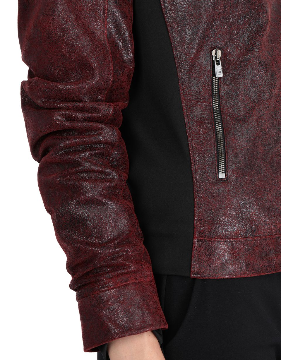 Scuderia Ferrari Online Store - Women's padded jacket in crackle leather - Leather Jackets