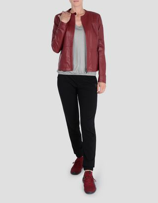 Scuderia Ferrari Online Store - Women's jacket in lambskin nappa with driver's collar - Leather Jackets