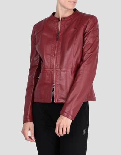 Women's nappa lambskin jacket with racing-style collar