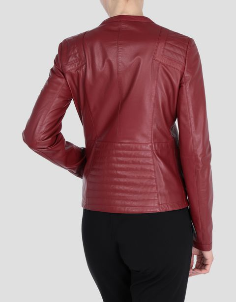 Scuderia Ferrari Online Store - Women's leather jacket with ergonomic seam - Leather Jackets