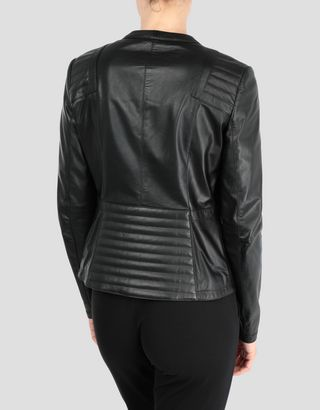 Scuderia Ferrari Online Store - Women's leather jacket with ergonomic fit - Leather Jackets