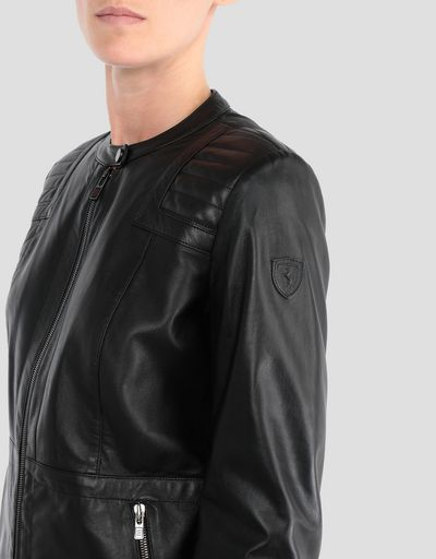 Women's jacket in lambskin nappa with driver's collar