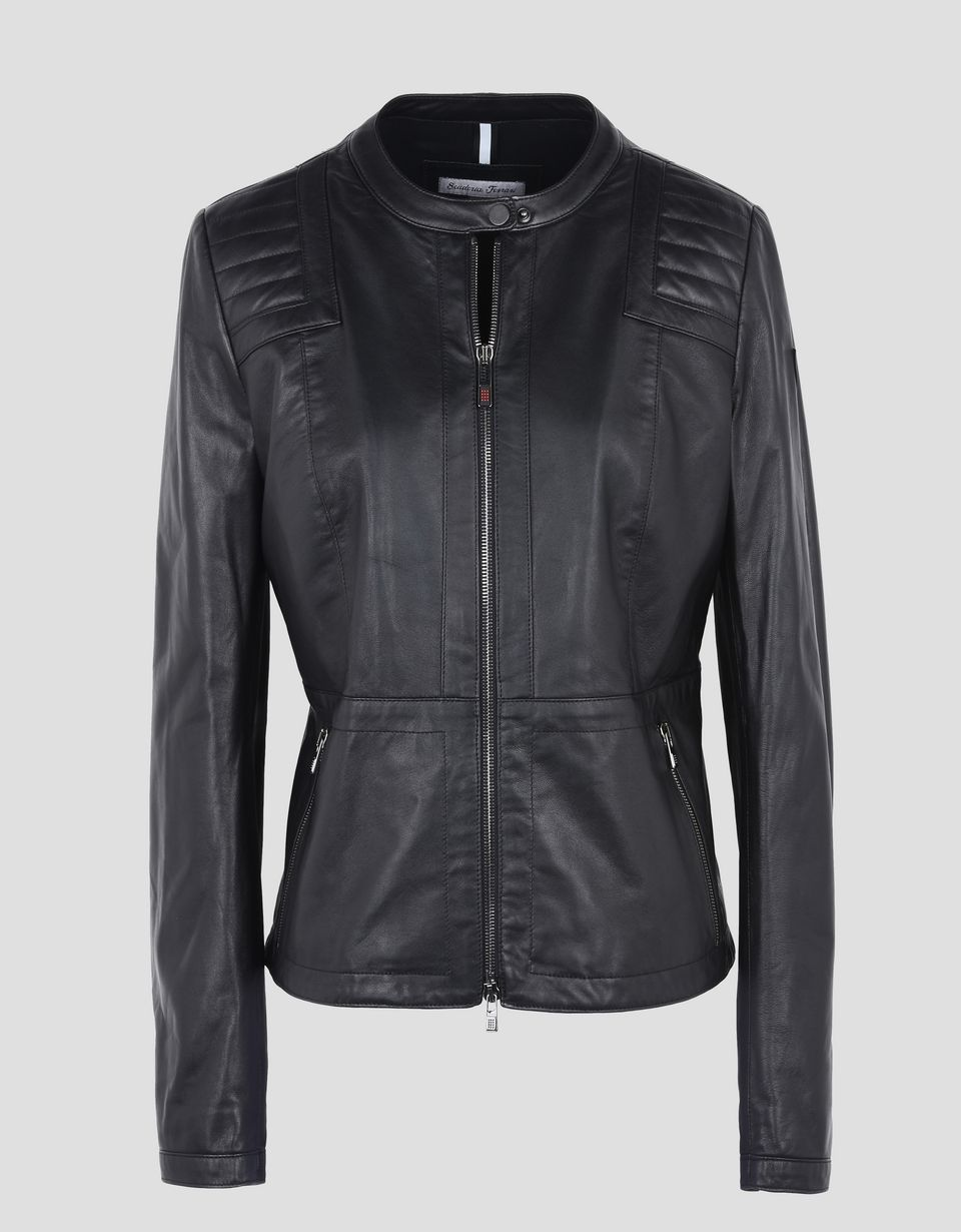 Scuderia Ferrari Online Store - Women's leather jacket with ergonomic seam -