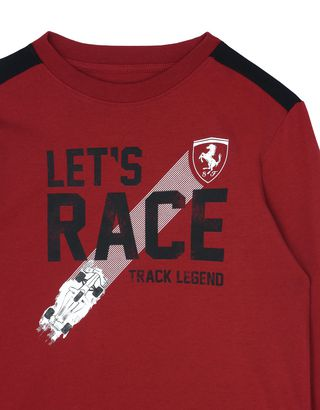 Scuderia Ferrari Online Store - Children's T-shirt with ʺLet's raceʺ slogan - Long Sleeve T-Shirts
