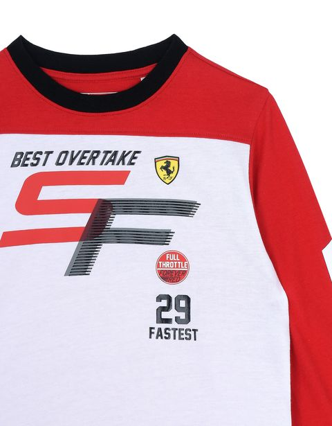 Scuderia Ferrari Online Store - Children's long-sleeved T-shirt in stretch jersey - Long Sleeve T-Shirts