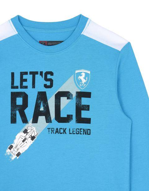 Scuderia Ferrari Online Store - T-shirt bambino con scritta ʺLet's raceʺ - T-shirt a Maniche Lunghe