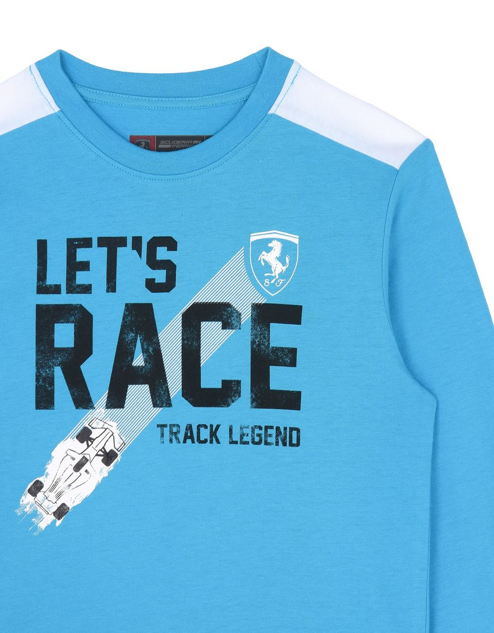 "Scuderia Ferrari Online Store - Children's T-shirt with ""Let's race"" lettering - Long Sleeve T-Shirts"