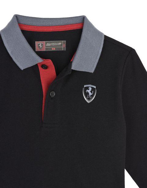 Scuderia Ferrari Online Store - 男童棉质珠地 Polo 衫 - Long Sleeve Polo 衫