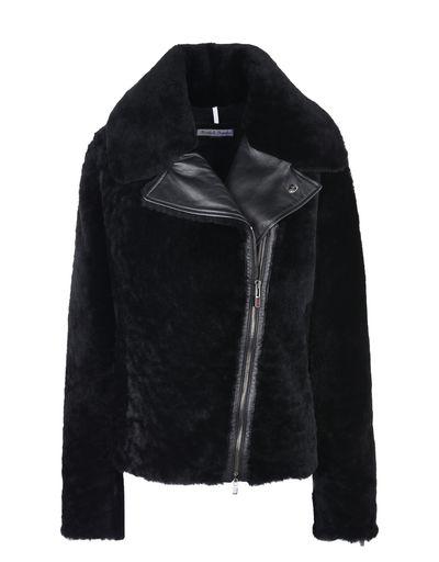 Scuderia Ferrari Online Store - Women's shearling biker jacket - Leather Jackets