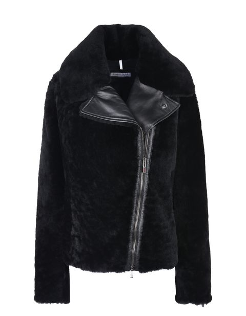 Scuderia Ferrari Online Store - Women's shearling biker jacket - Leather Jackets