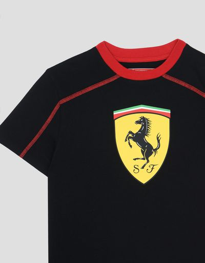 Scuderia Ferrari Online Store - Child's cotton T-shirt with Ferrari Shield - Short Sleeve T-Shirts