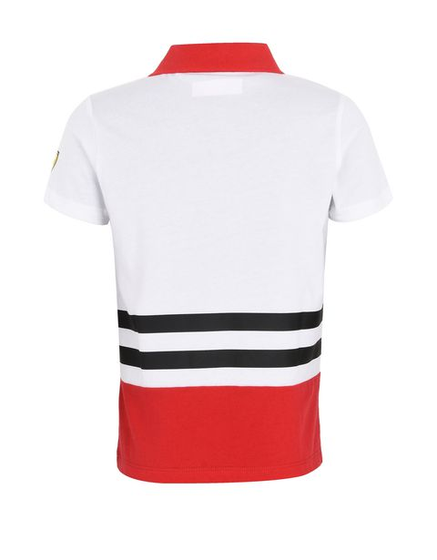 Children's jersey polo shirt with prints and patches