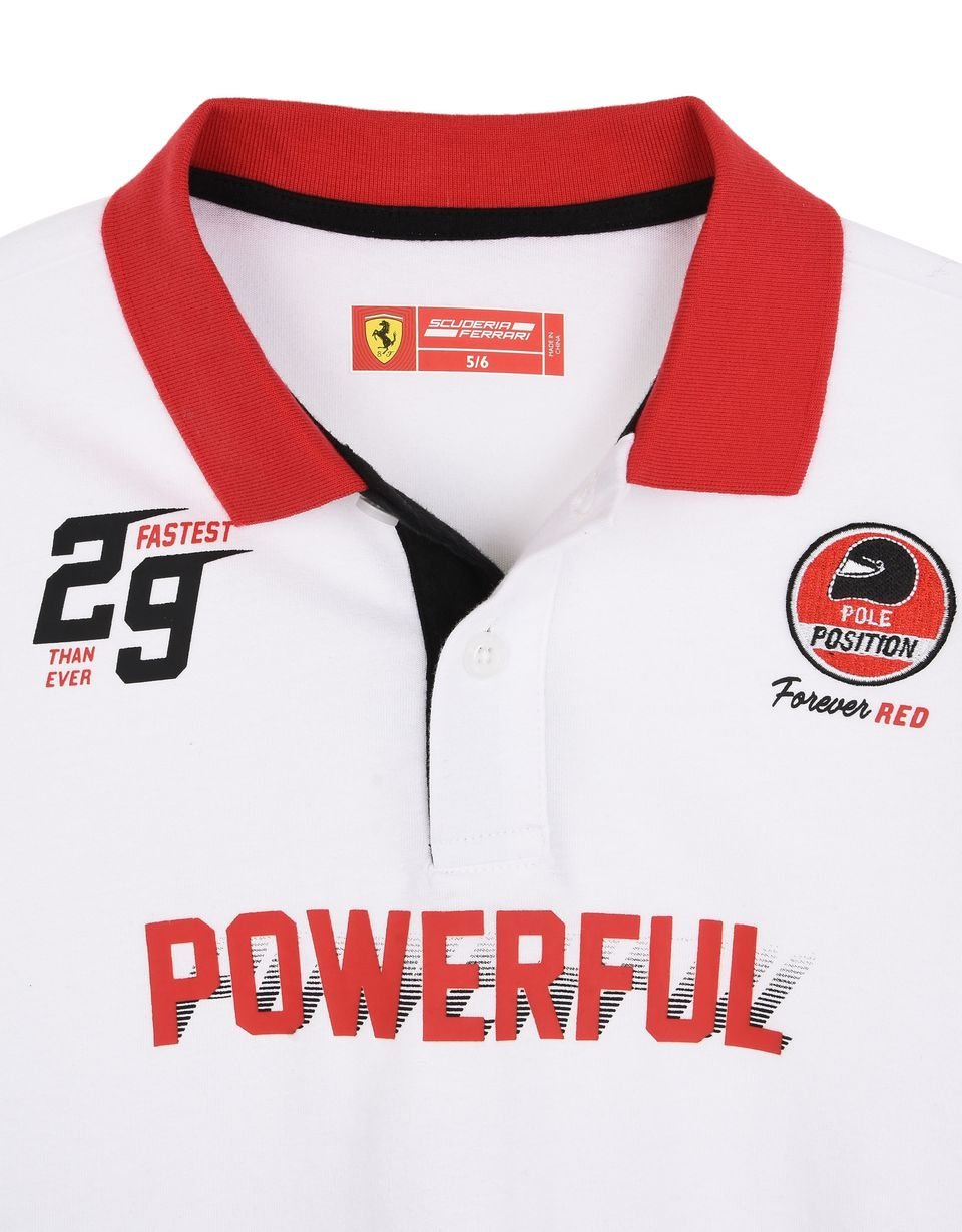 Scuderia Ferrari Online Store - Boys' jersey polo shirt with prints and patch - Short Sleeve Polos