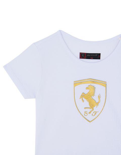 Scuderia Ferrari Online Store - Girls' T-shirt with flounces and gold-tone Shield -