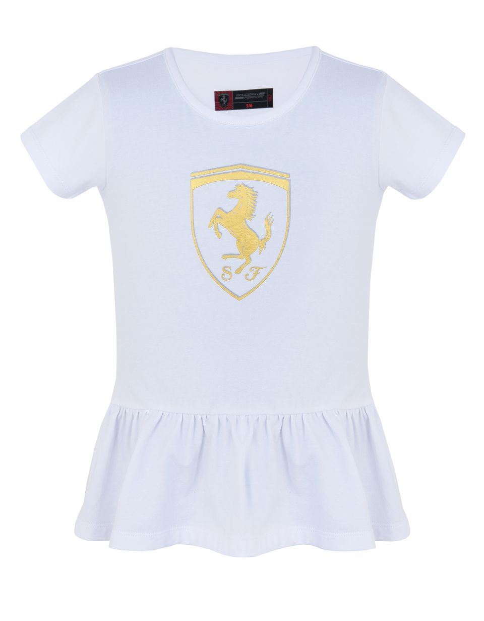 Scuderia Ferrari Online Store - Girls' T-shirt with flounce and gold-tone Shield - Short Sleeve T-Shirts