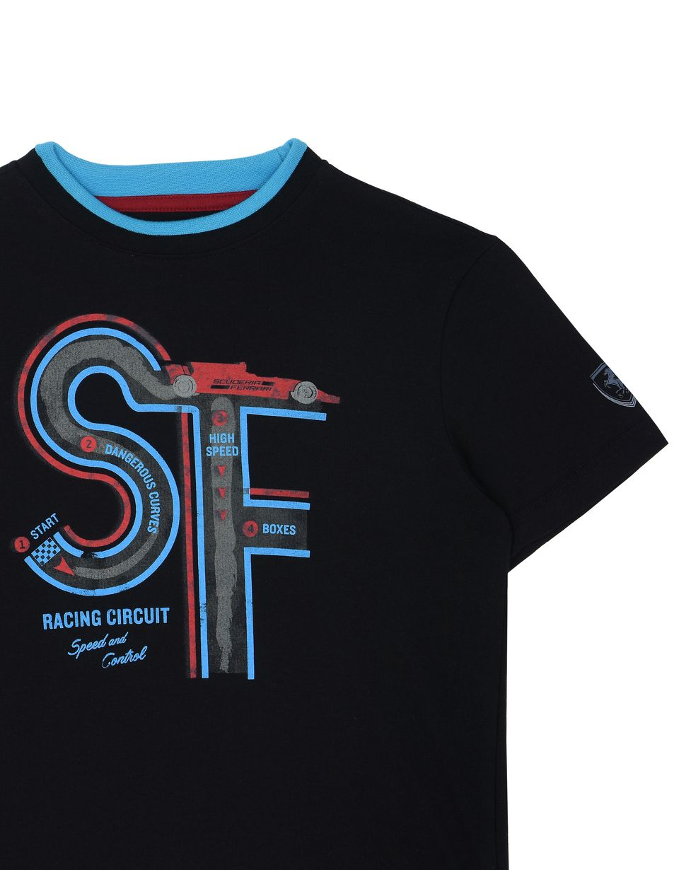 Scuderia Ferrari Online Store - Children's T-shirt with race track print - Short Sleeve T-Shirts