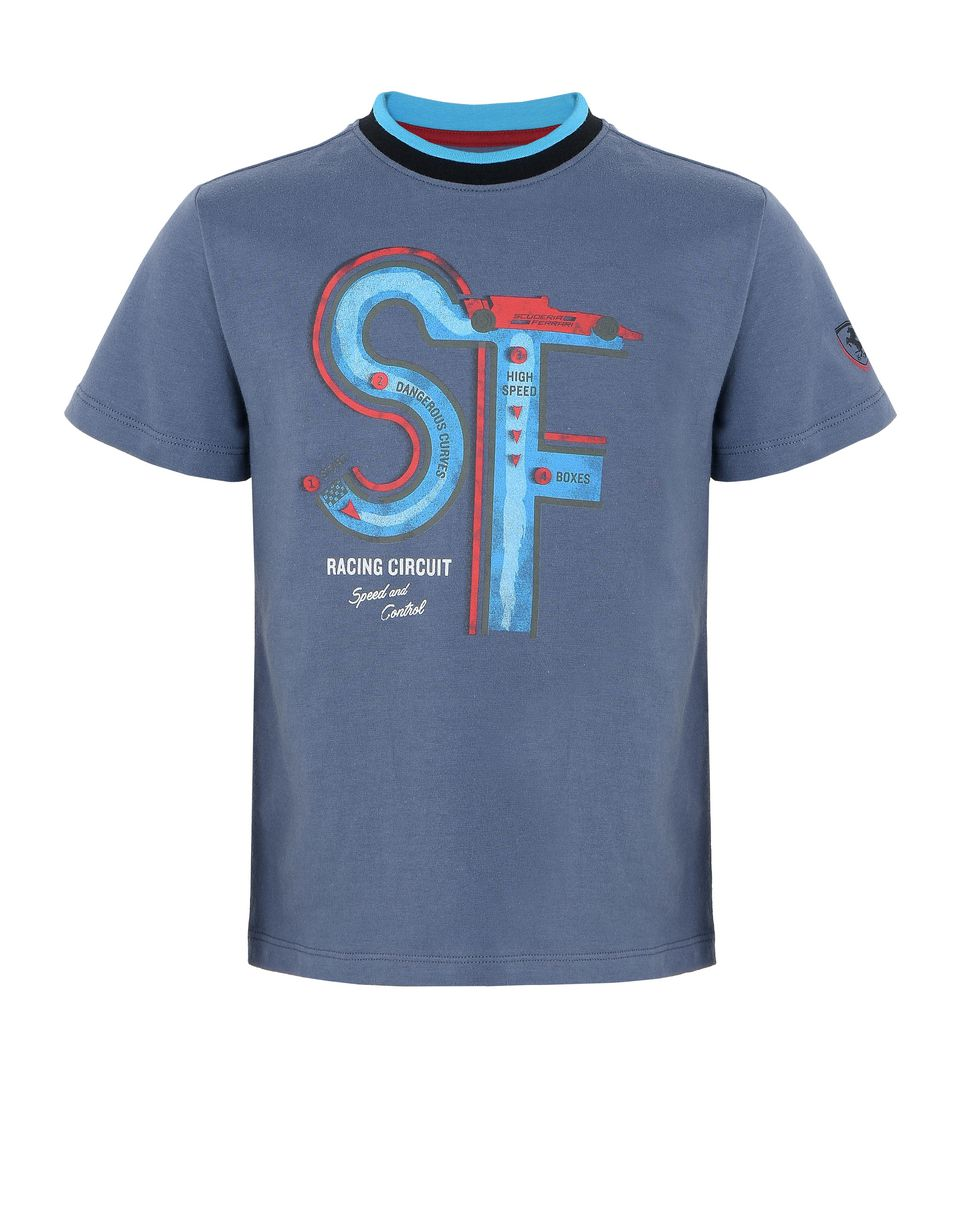 Scuderia Ferrari Online Store - Children's T-shirt with racing circuit print - Short Sleeve T-Shirts