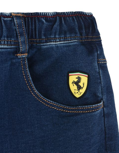 Scuderia Ferrari Online Store - Children's trousers in denim-effect fleece - 5-pocket trousers