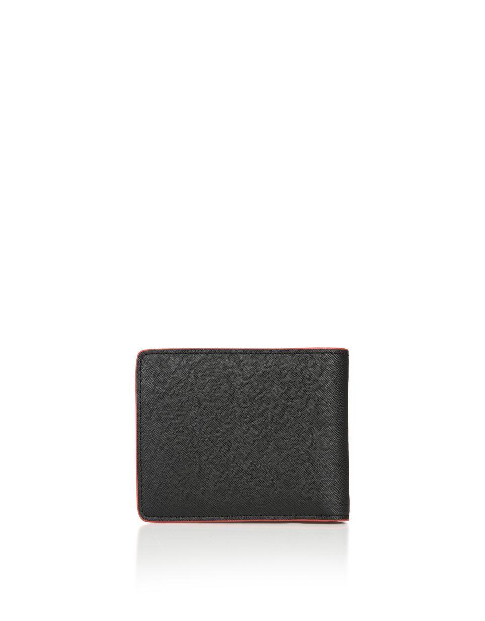 Scuderia Ferrari Online Store - Portafoglio orizzontale in pelle Saffiano con portamonete - Horizontal with coin Wallets