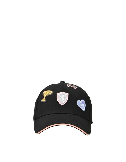 Girls cap with embroidered patches