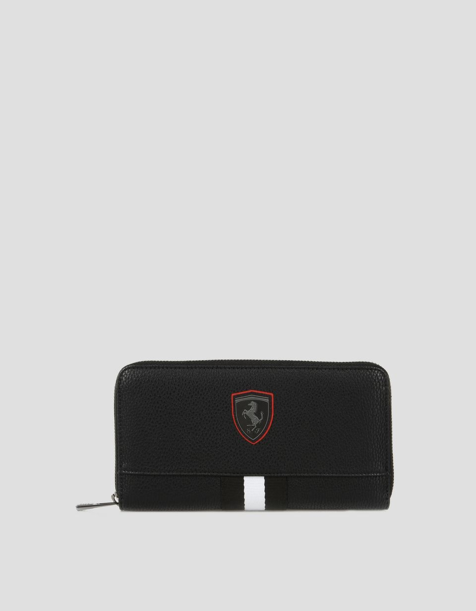 Scuderia Ferrari Online Store - Women's red wallet in hammered faux leather - Zip-around Wallets