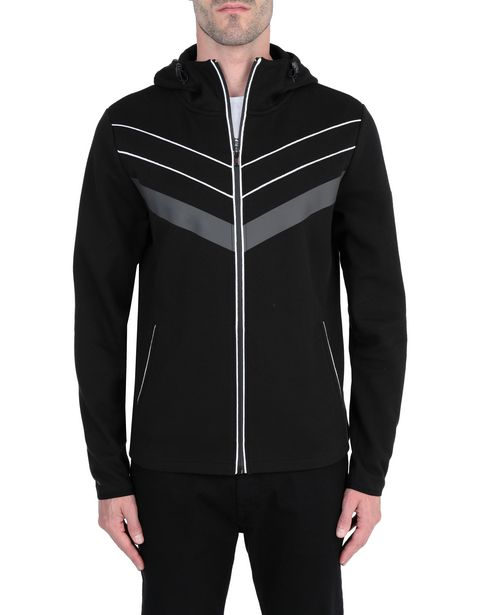 Men's hooded jumper with rubber inserts