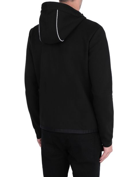 Men's sweater with hood and rubber inserts