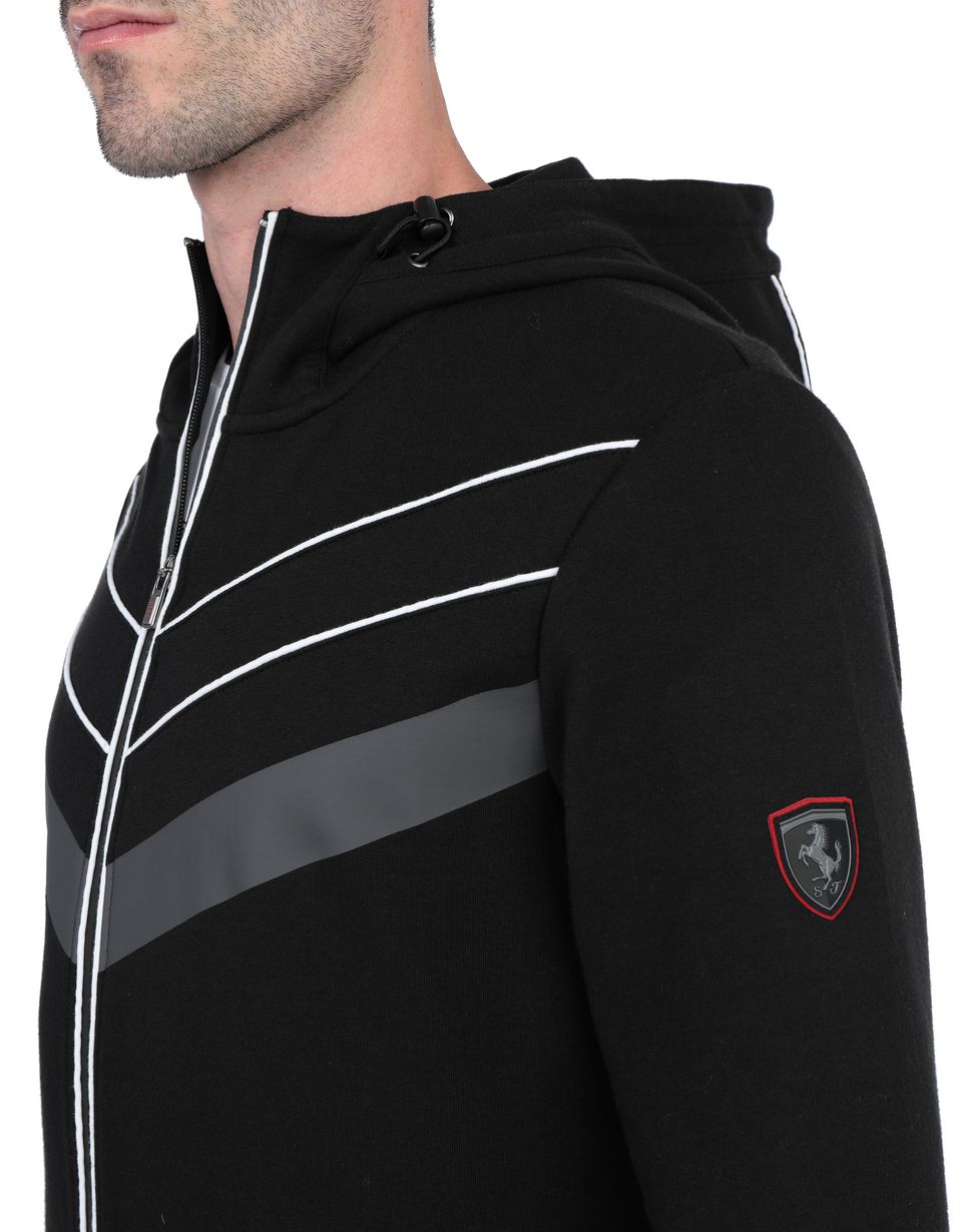 Scuderia Ferrari Online Store - Men's sweater with hood and rubber inserts - Zip Hood Sweaters