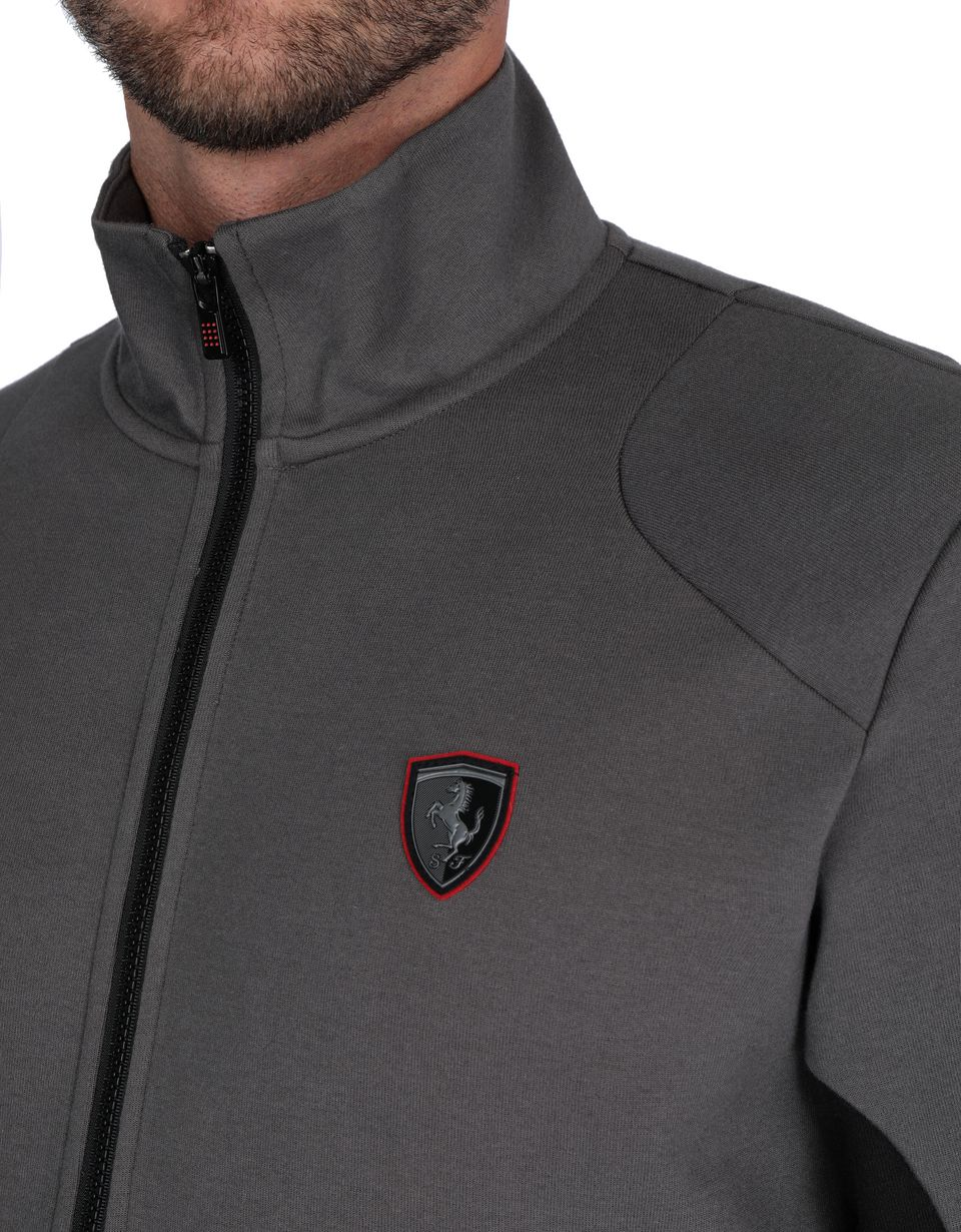 Scuderia Ferrari Online Store - Men's sweater with zipper and contrasting inserts - Zip Sweaters