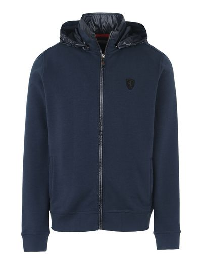 Scuderia Ferrari Online Store - Men's sweater with removable hood - Zip Hood Sweaters