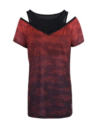Scuderia Ferrari Online Store - Double-layered women's T-shirt with camouflage print - Short Sleeve T-Shirts