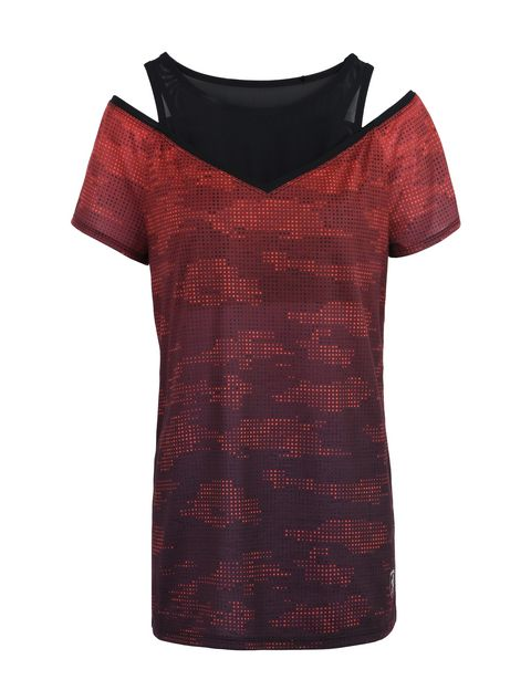 Scuderia Ferrari Online Store - Double layer women's T-shirt with camouflage print - Short Sleeve T-Shirts