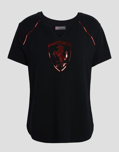 Scuderia Ferrari Online Store - Women's T-shirt with laminated print - Short Sleeve T-Shirts